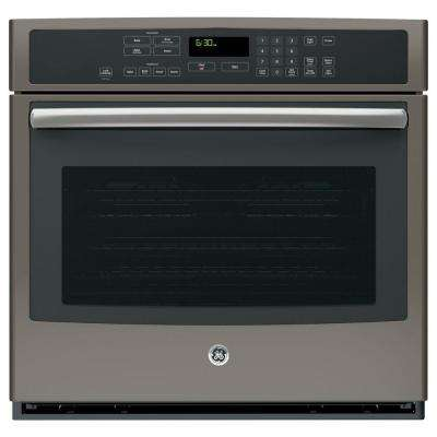 30 in. Single Electric Wall Oven Self-Cleaning with Steam Plus Convection in Slate, Fingerprint Resistant