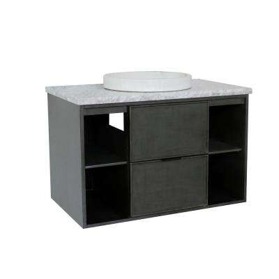 Scandi III 37 in. W x 22 in. D Wall Mount Bath Vanity in Gray with Marble Vanity Top in White with White Round Basin