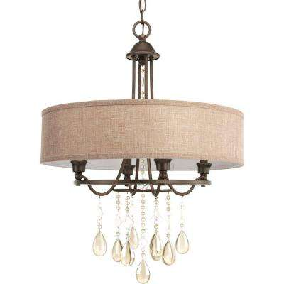 Flourish Collection 4-Light Cognac Pendant with Autumnal Linen Shade
