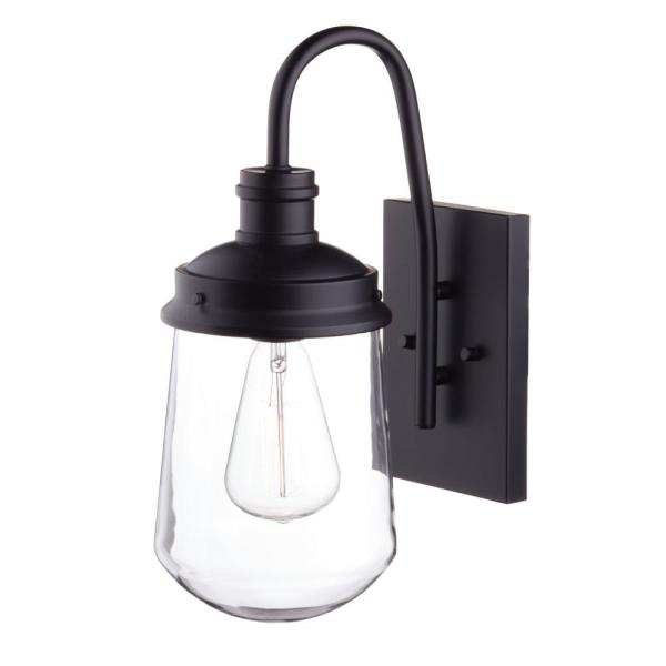 Edelman 1-Light Black Outdoor Wall Lantern Sconce