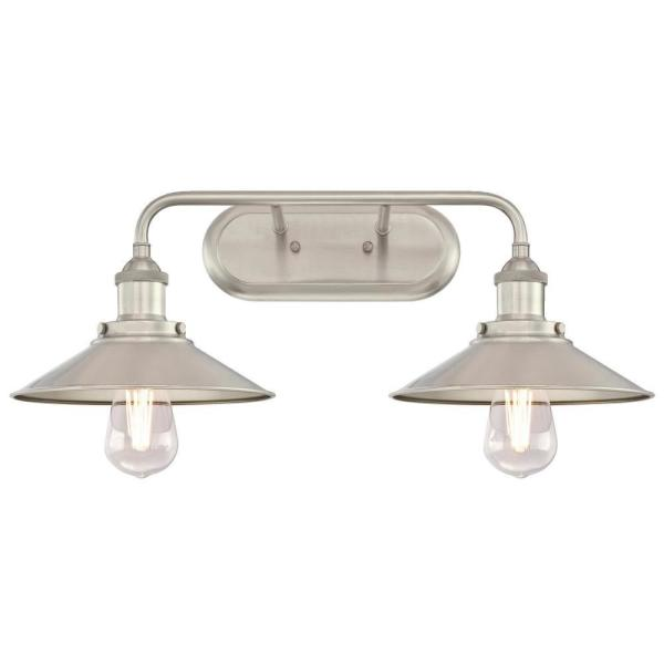 Maggie 2-Light Brushed Nickel Wall Mount Bath Light