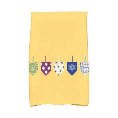 16 in. x 25 in. Yellow Doodled Dreidels Holiday Geometric Print Kitchen Towel
