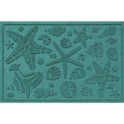 Aquamarine 24 in. x 36 in. Beachcomber Polypropylene Door Mat