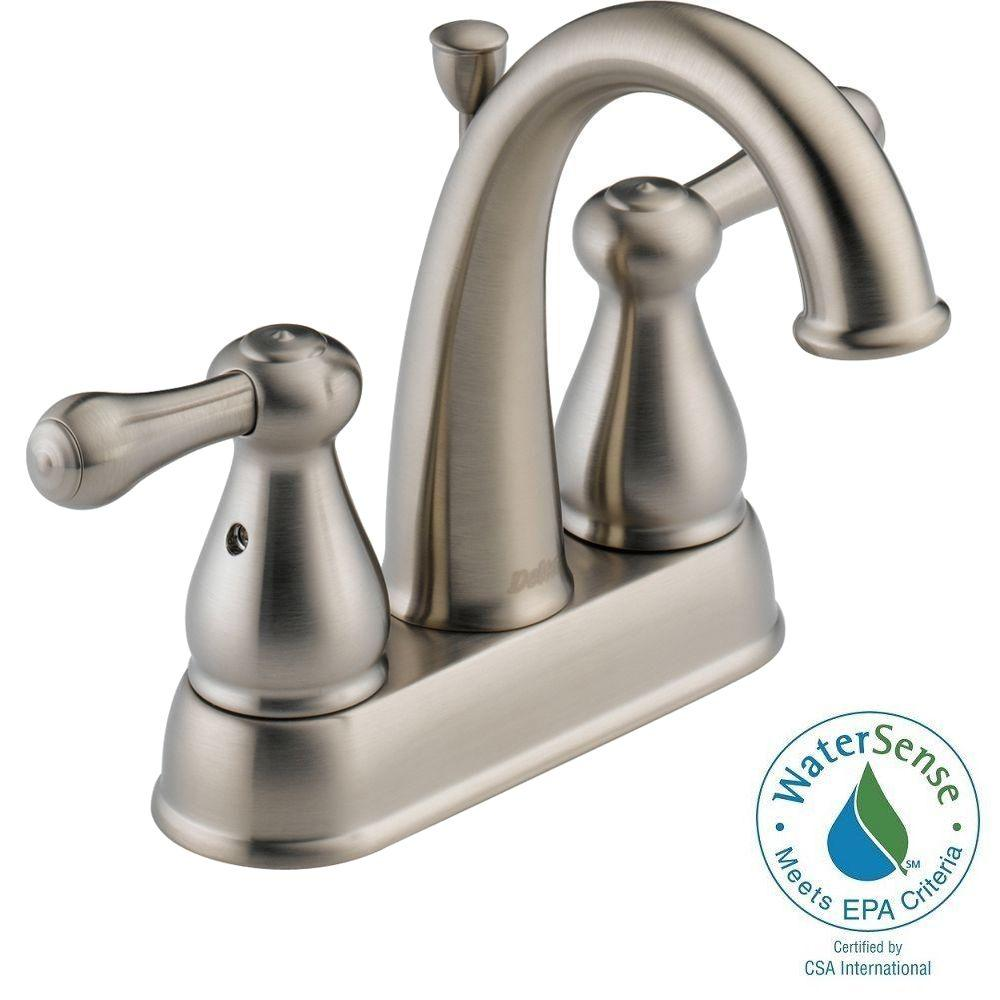 Delta Leland 4 in. 2-Handle High-Arc Bathroom Faucet in Stainless
