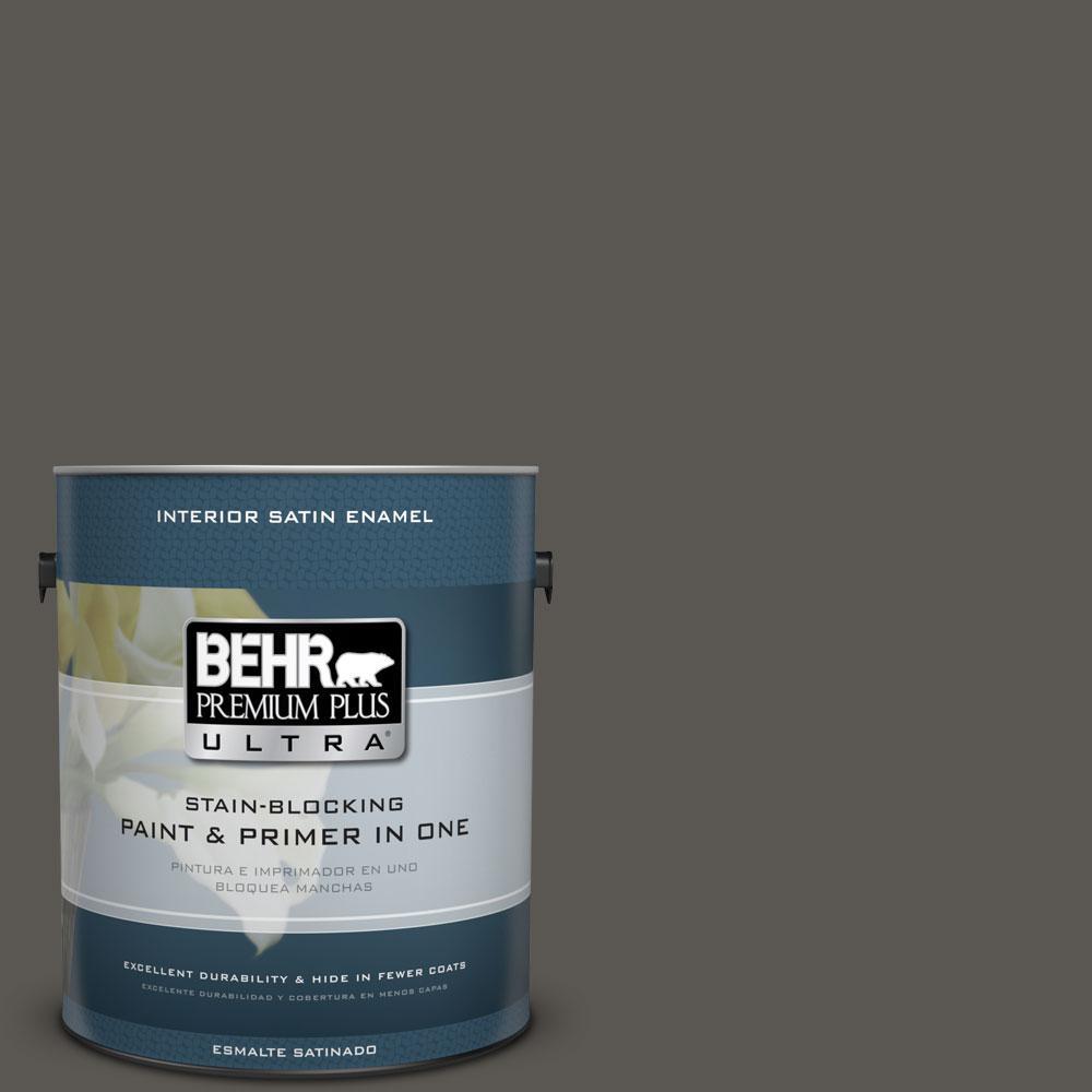 1-gal. #BXC-17 Dominant Gray Satin Enamel Interior Paint