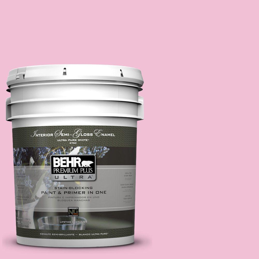 BEHR Premium Plus Ultra 5-gal. #100B-4 Pink Chintz Semi-Gloss Enamel Interior Paint