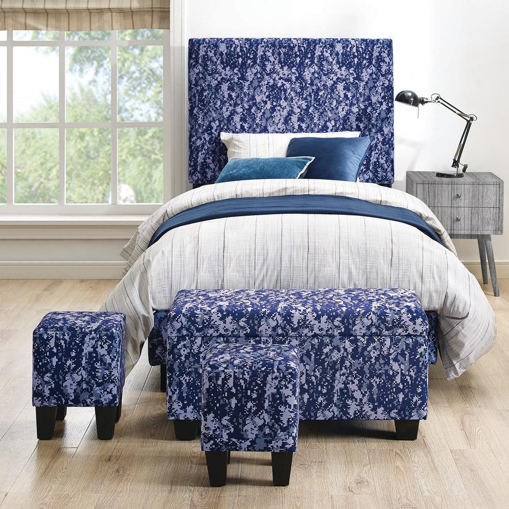 Jett Upholstered Platform Blue Bed with Ottoman Set