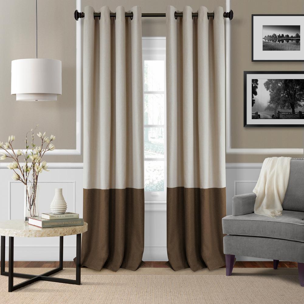 Blackout Braiden Chocolate Blackout Grommet Single Curtain ...