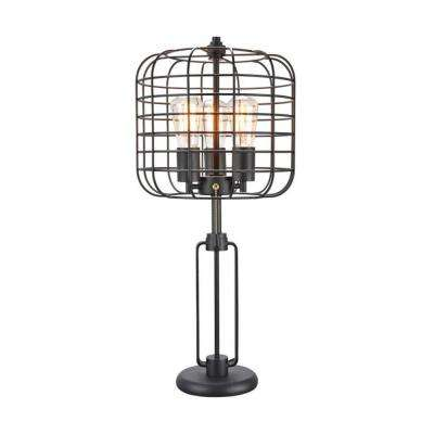 Edison 26.5 in. Black Table Lamp with Industrial Cage