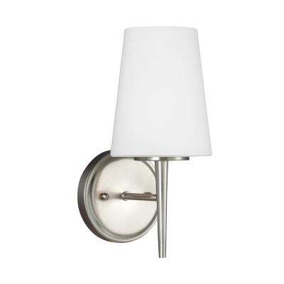Driscoll 1-Light Brushed Nickel Sconce with LED Bulb
