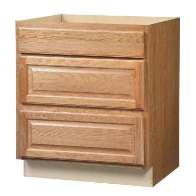 Hampton Assembled 30x34.5x24 in. Pots and Pans Drawer Base Kitchen Cabinet in Medium Oak