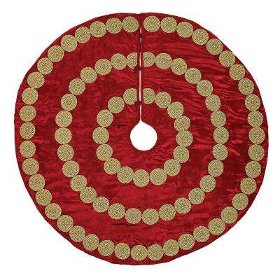48 in. Red Memories Glam Christmas Decor Tree Skirt