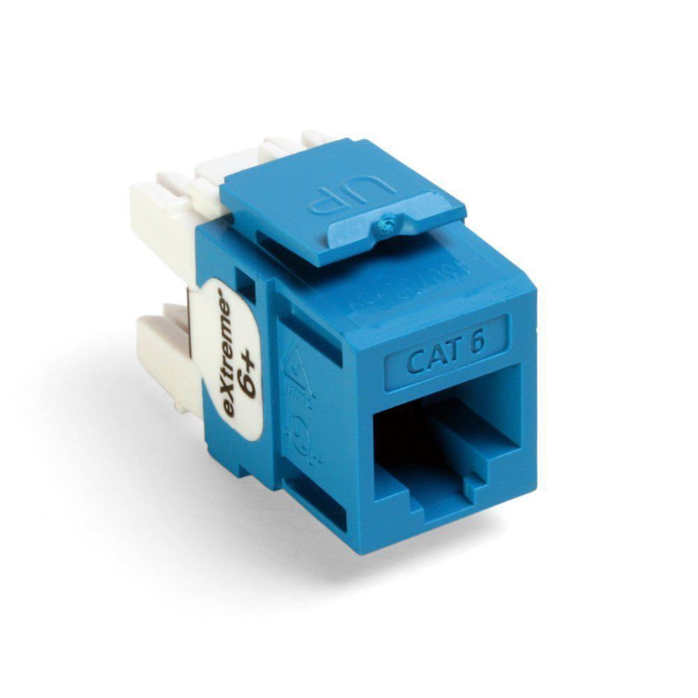 Leviton QuickPort Extreme CAT 6 Connector with T568A/B Wiring, Blue ...