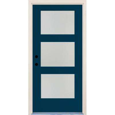 36 in. x 80 in. Elite Atlantis Etch Glass Contemporary Right-Hand 3 Lite Satin Painted Fiberglass Prehung Front Door
