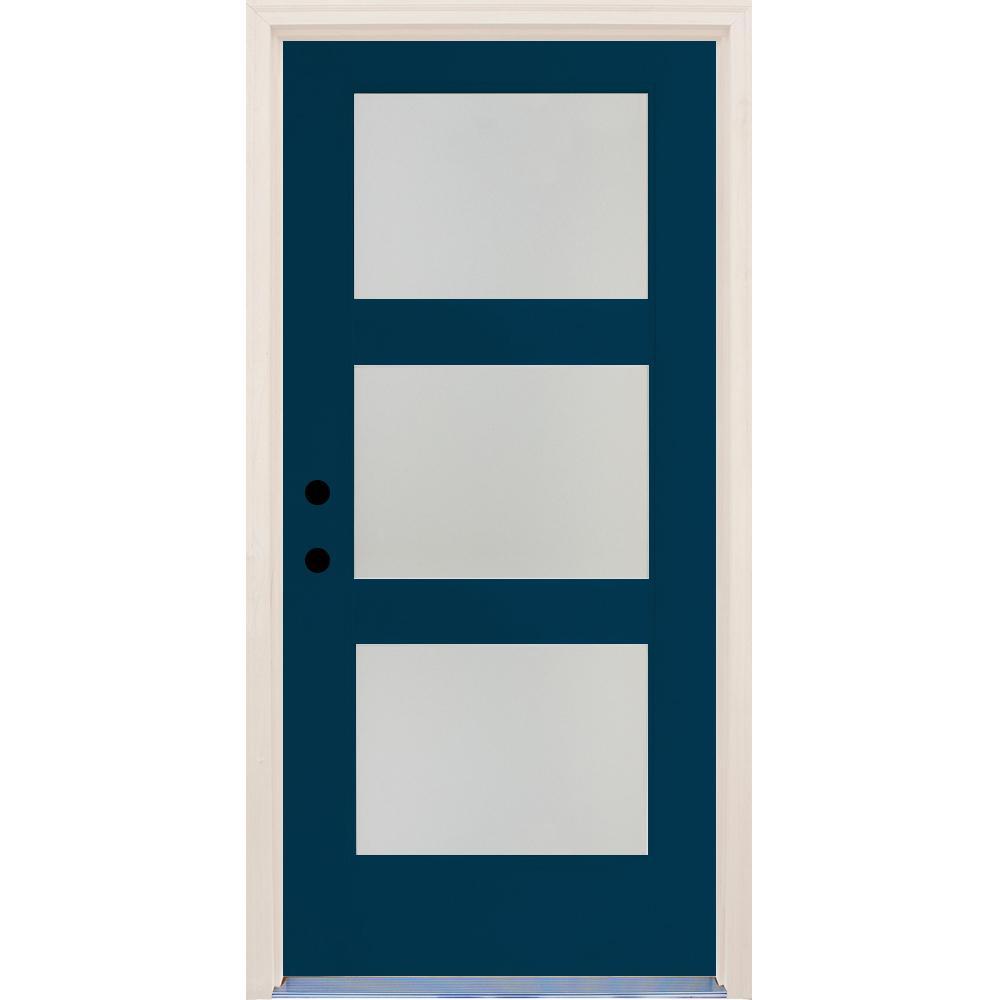 36 in. x 80 in. Right-Hand Elite Atlantis Etch Glass Contemporary 3 Lite Satin Painted Fiberglass Prehung Front Door