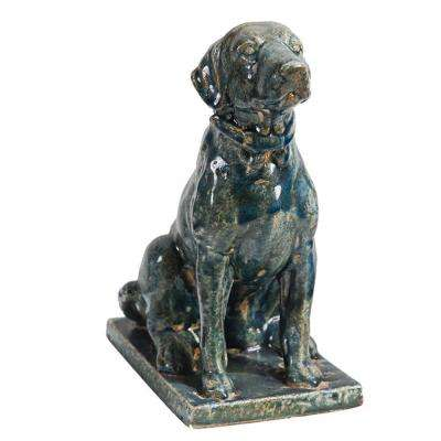 Distressed Blue Sitting Dog Statue