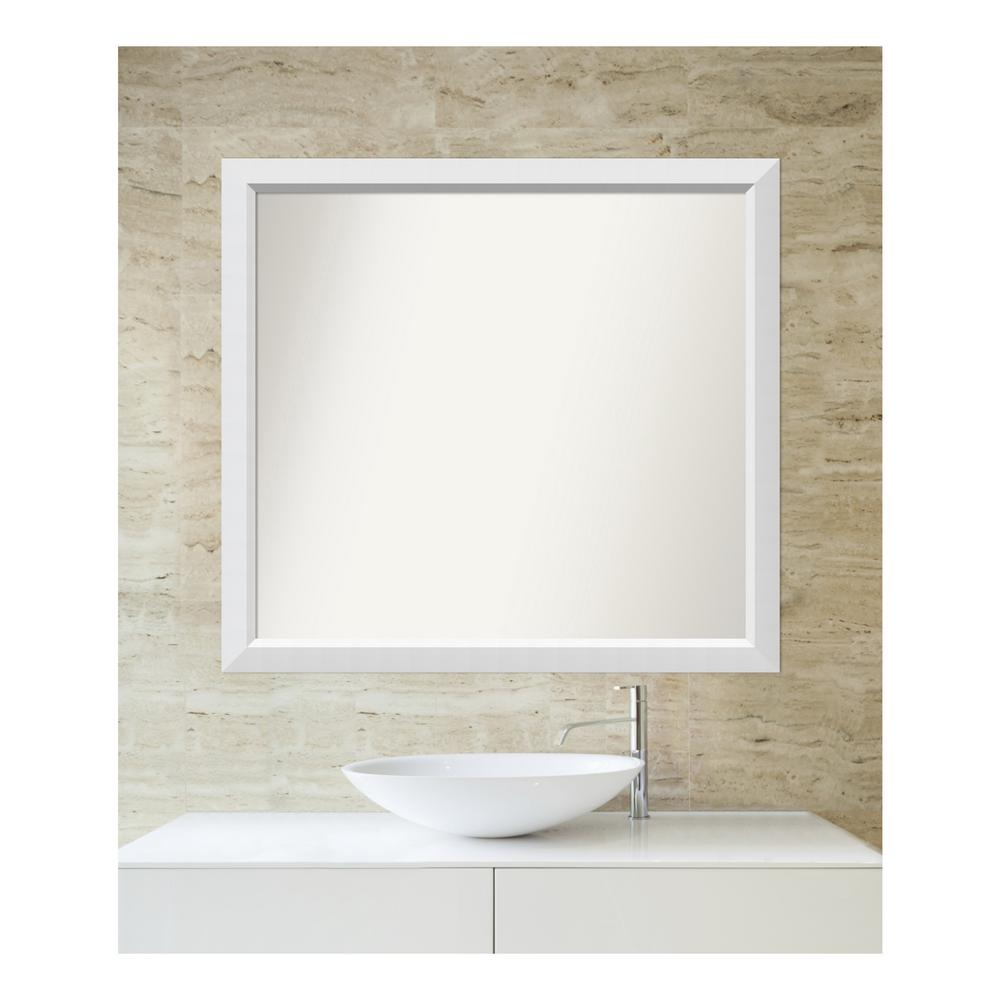amanti art 35 in. x 38 in. blanco white wood framed mirror