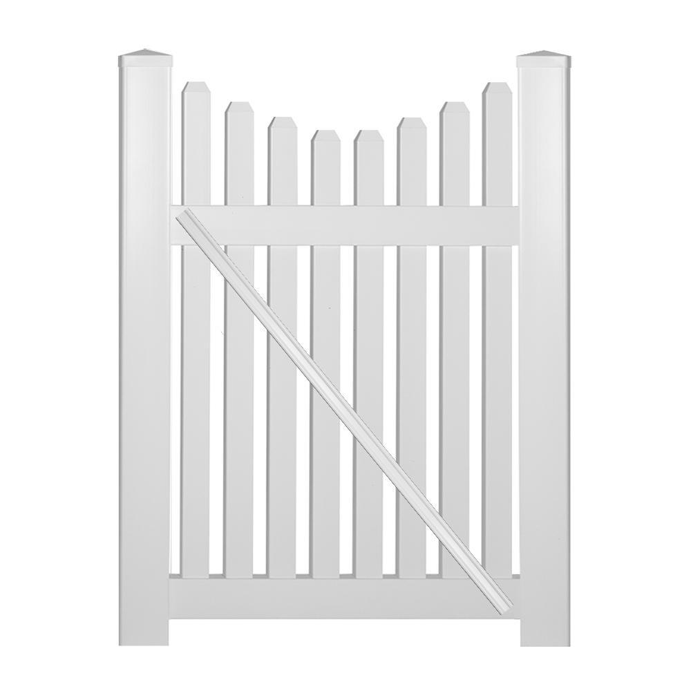 Richmond 4 ft. W x 3 ft. H White Vinyl Picket Fence Gate