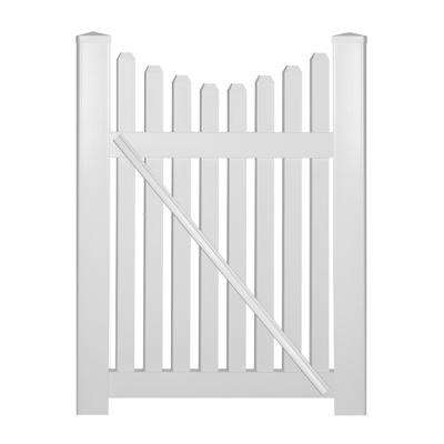 Richmond 4 ft. W x 4 ft. H White Vinyl Picket Fence Gate