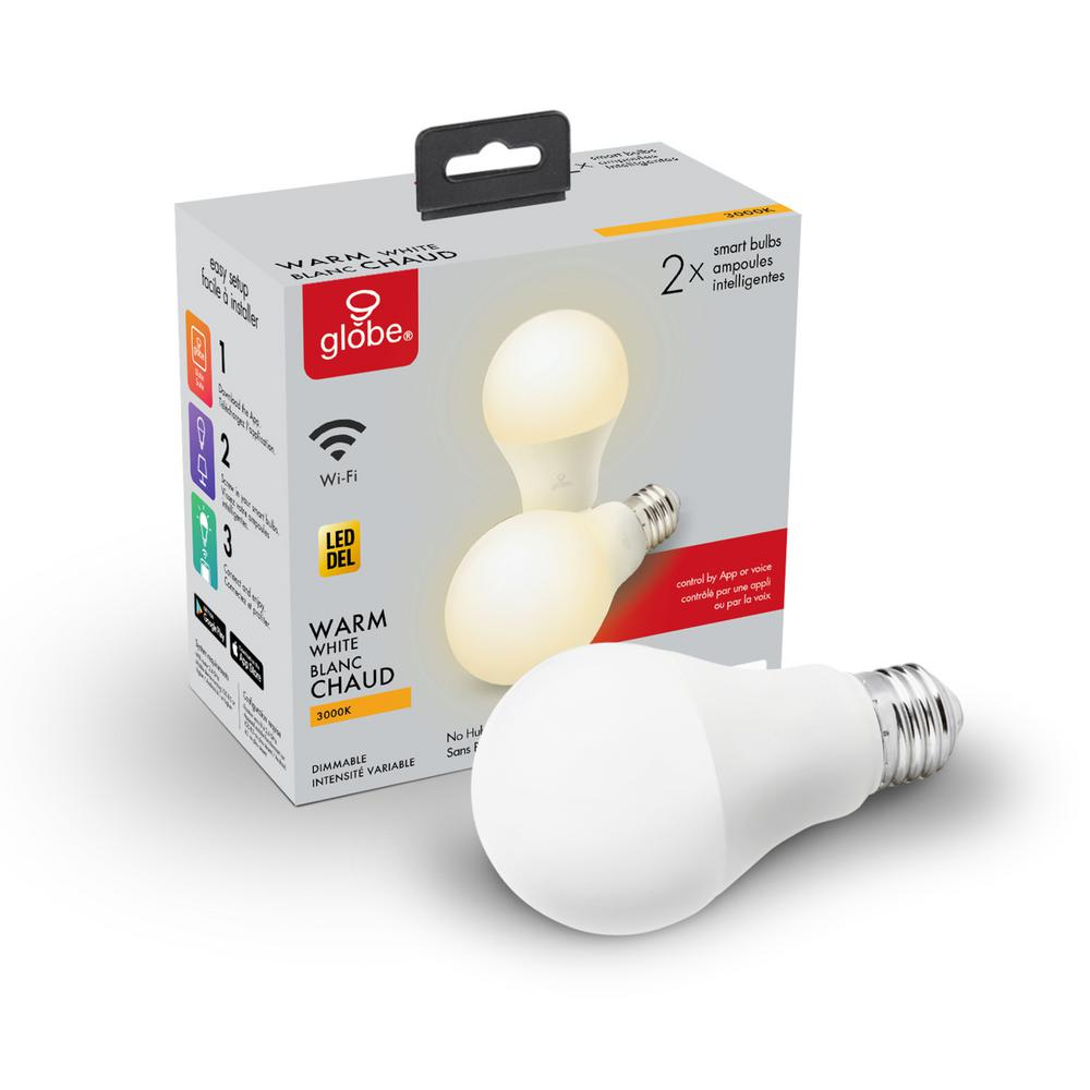Globe Electric Wi-Fi Smart 60W Equivalent Soft White Dimmable Frosted LED Light Bulb, No Hub Required, A19, E26 Base (2-Pack)