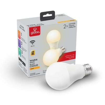 Wi-Fi Smart 60W Equivalent Soft White Dimmable Frosted LED Light Bulb, No Hub Required, A19, E26 Base (2-Pack)