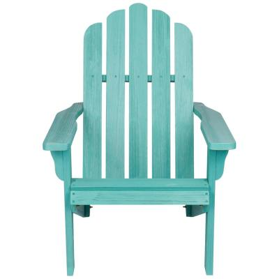 38 in. Tall Vintage Marina Patio Turquoise Wood Adirondack Chair