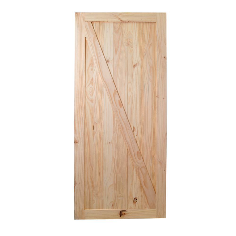 36 in. x 84 in. Z Bar Unfinished Natural Wood Barn Door Sliding Door Hardware Kit