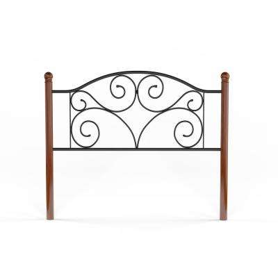 Doral Queen-Size Headboard with Dark Walnut Wood Posts and Metal Grill in Matte Black