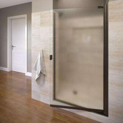 Classic 33-1/4 in. x 66 in. Semi-Frameless Pivot Shower Door in Oil Rubbed Bronze with Obscure Glass