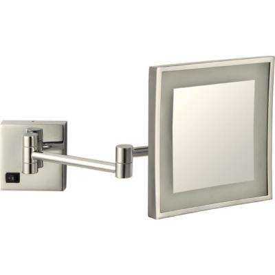 Glimmer 8 in. x 8 in. Wall Mounted LED 3x Square Makeup Mirror in Satin Nickel Finish