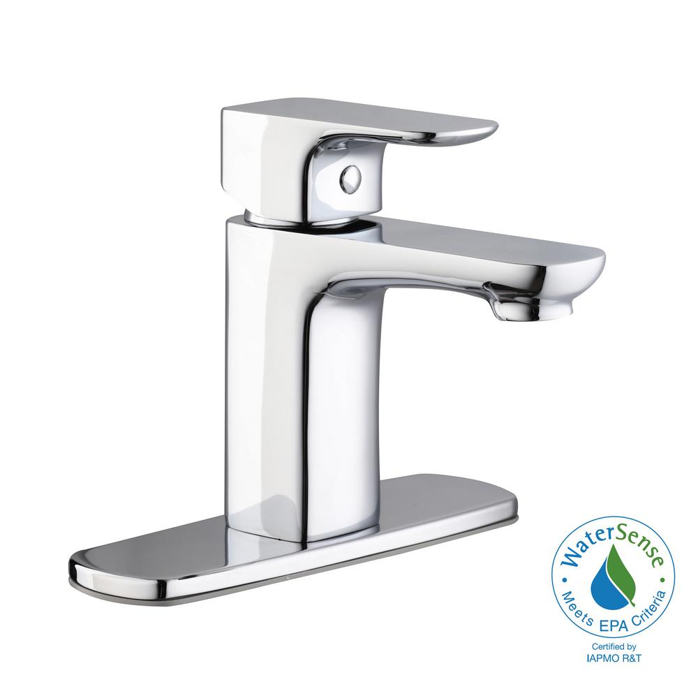 Contemporary Single Hole Single-Handle Low-Arc Bathroom Faucet in Chrome