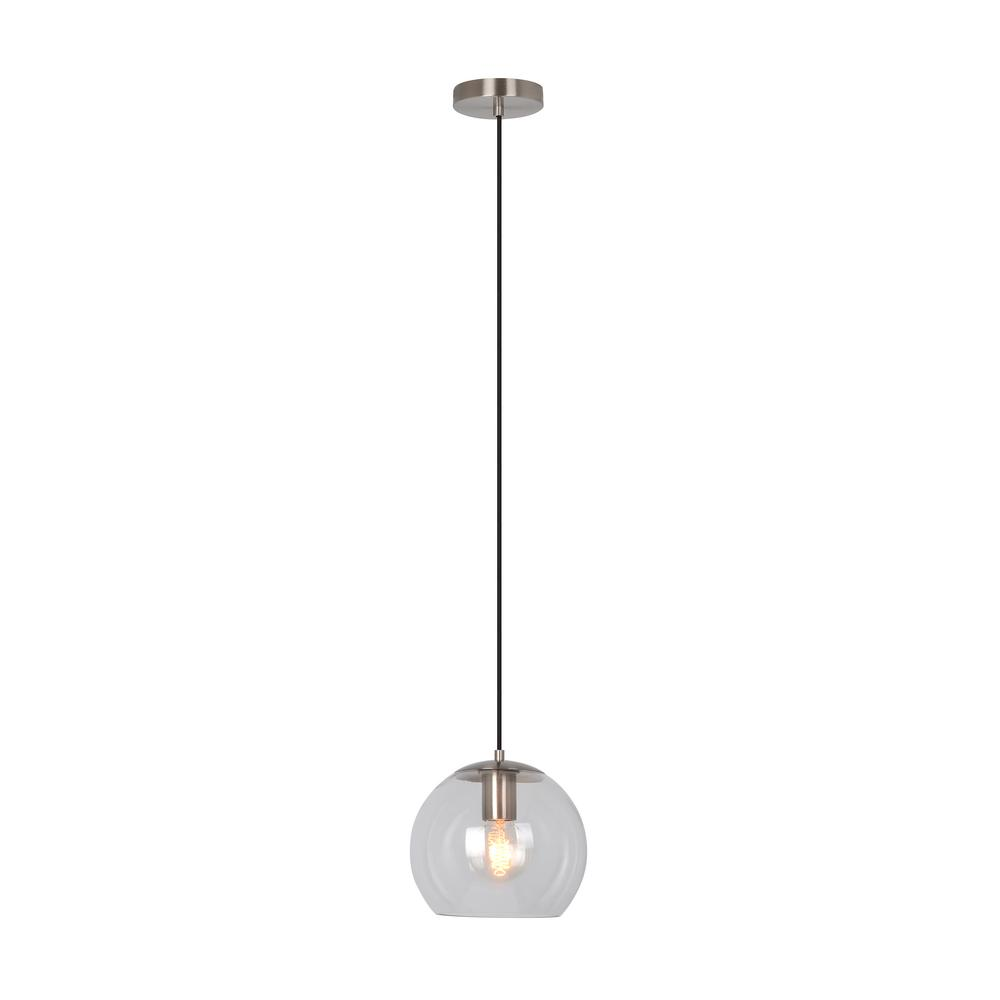 Home Decorators Collection 1-Light Satin Steel Mini Pendant with Clear Glass