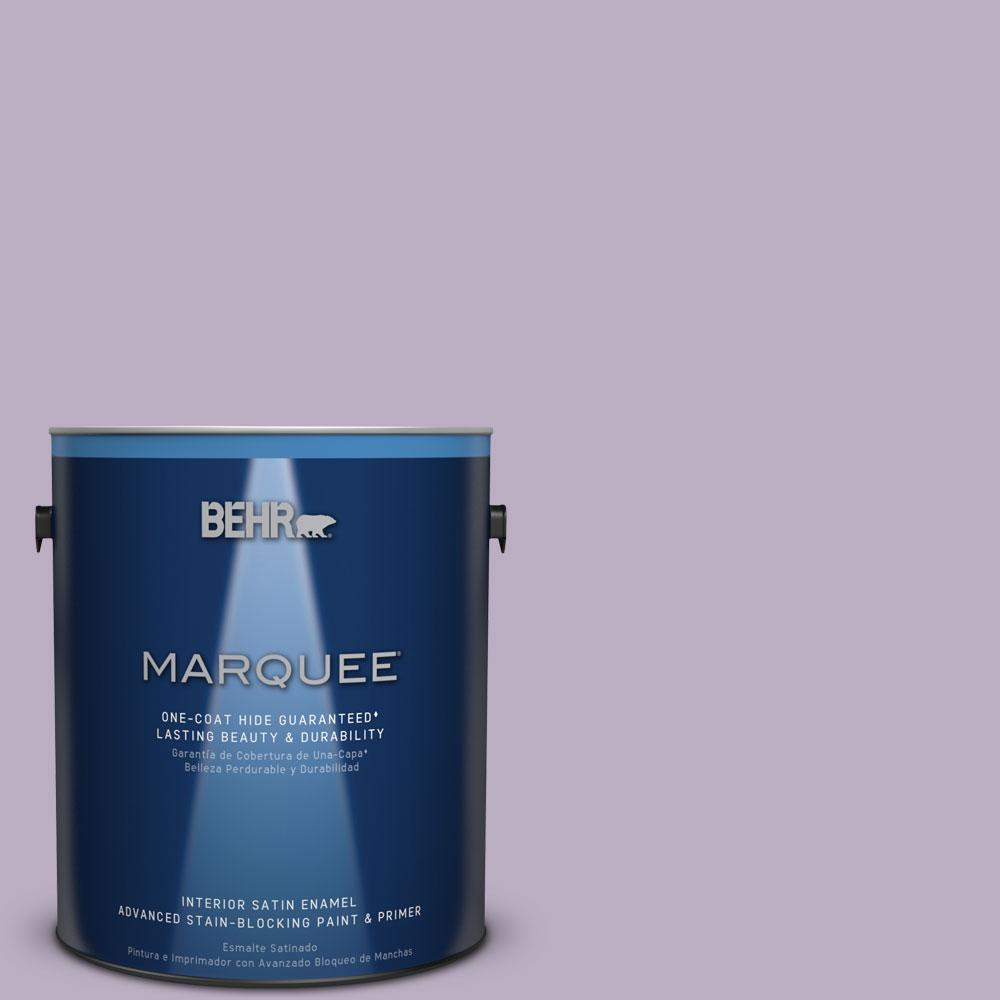 1 gal. #S100-3 Courtly Purple One-Coat Hide Satin Enamel Interior Paint