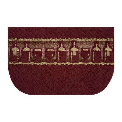 Merlot Textured Loop Dark Red/Linen 18 in. x 30 in. Kitchen Rug