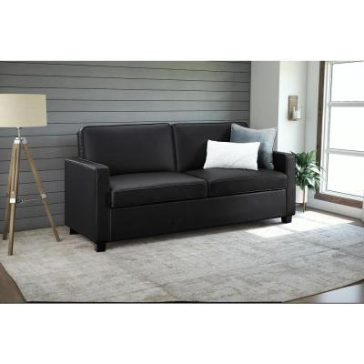 Casey 74.5 in. Black Faux-Leather 4-Seater Queen Sleeper Convertible Sofa Bed with Square Arms