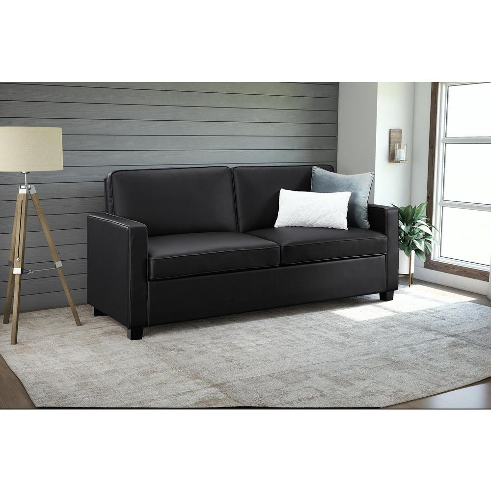 Casey Queen Size Black Faux Leather Sleeper Sofa
