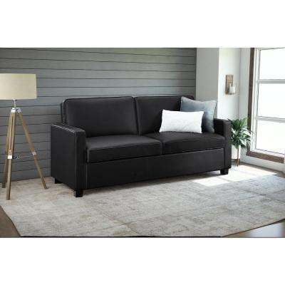 casey queen size black faux leather sleeper sofa - Black Sofa