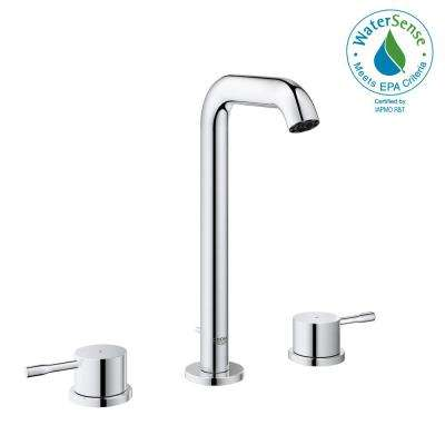Essence New 8 in. Widespread 2-Handle 1.2 GPM High-Arc Bathroom Faucet in StarLight Chrome