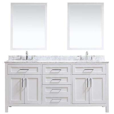 OVE Tahoe 72 in. W x 21 in. D Vanity in White with Carrara Marble Vanity Top in White with White Basin and Mirror