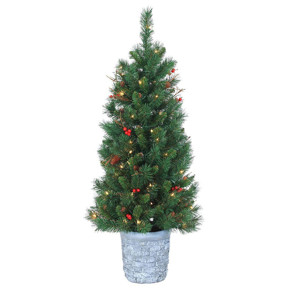 Sterling 4 ft. Pre-Lit Hard/Mixed Needle Hazelwood Pine Artificial Christmas Tree with Clear ...
