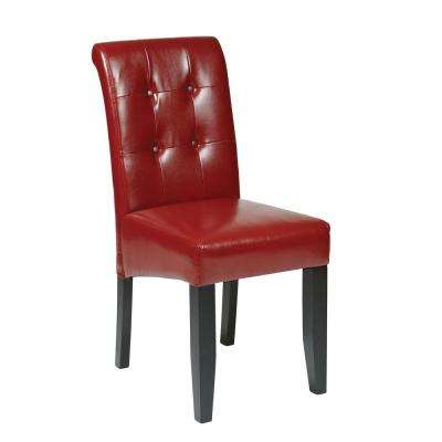 Crimson Red Eco Leather Parsons Dining Chair