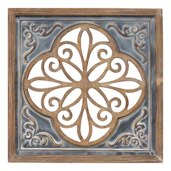 Stratton Home Decor Wood And Metal Blue Square Wall Decor S23780 The Home Depot