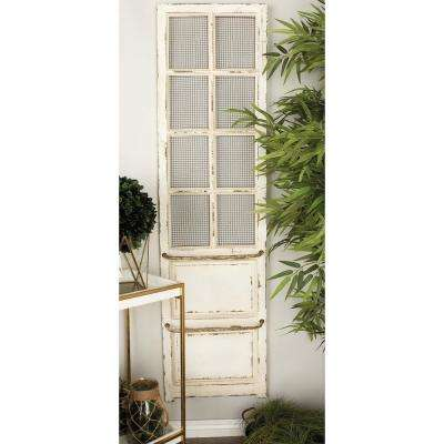 68 in. x 18 in. Rustic Wood and Iron Wall Panel and Screen in Distressed White