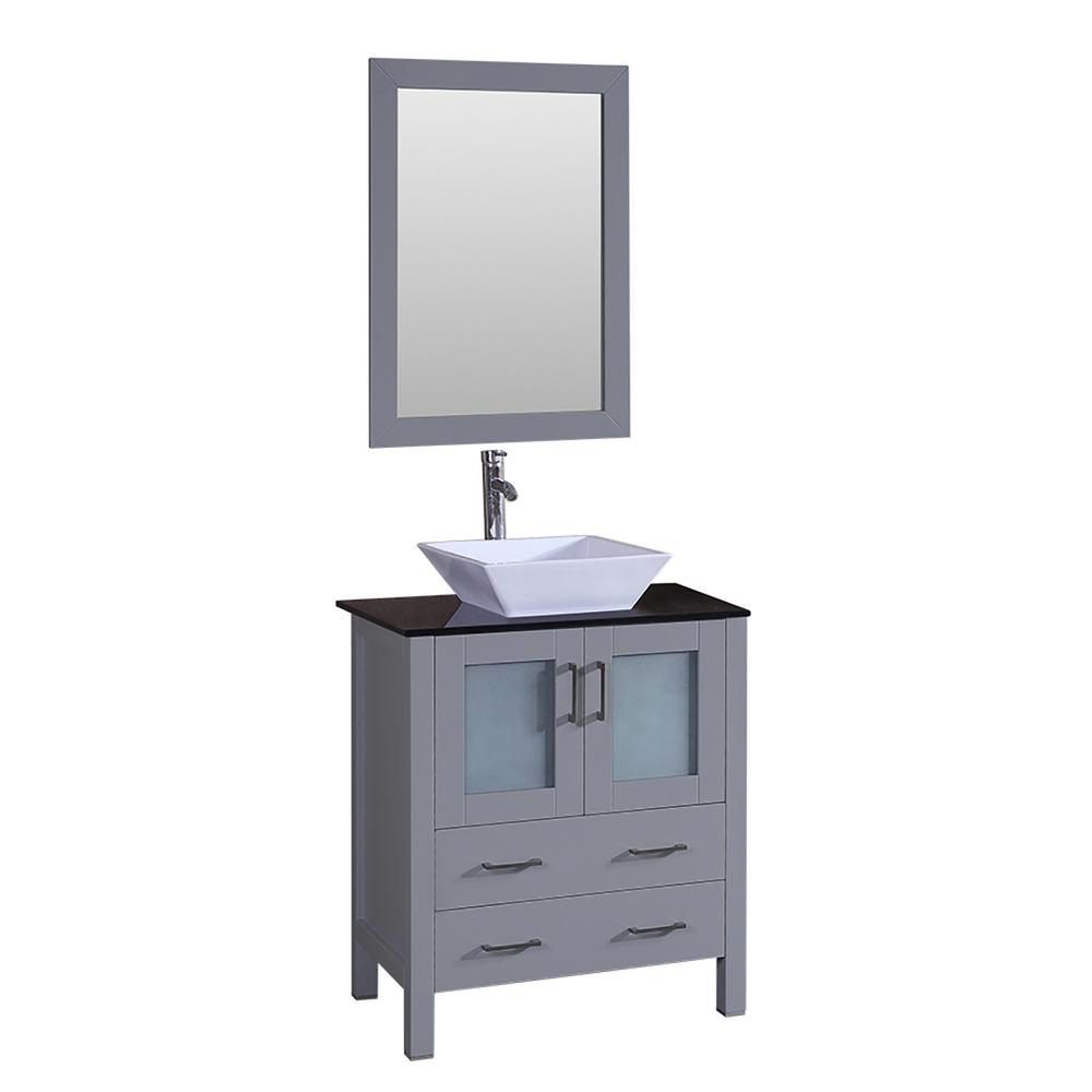 Bosconi Bosconi 30 in. Single Vanity in Gray with Vanity Top in Black with White Basin and Mirror