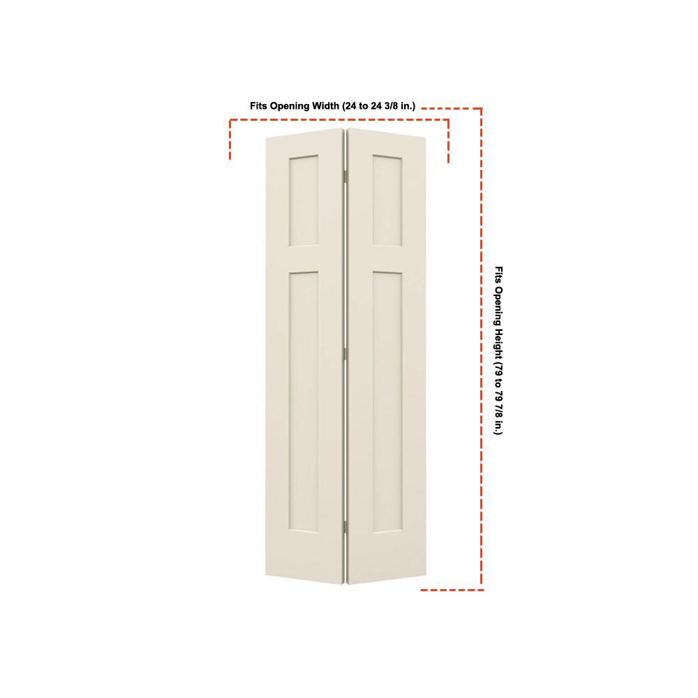 24 in. x 80 in. Smooth 3-Panel Craftsman Hollow Core Molded Interior Closet Composite Bi-Fold Door