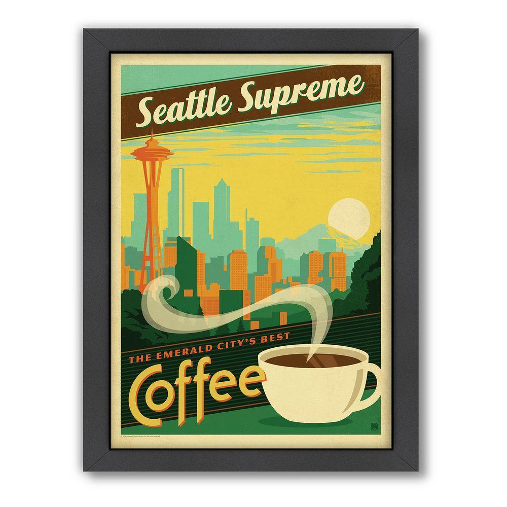 "Americanflat 27 in. x 21 in. ""Seattle Supreme"" by Joel Anderson Framed Wall Art"