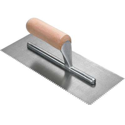 11 in. x 1/8 in. x 1/16 in. Flat Top V-Notch Pro Flooring Trowel with Wood Handle