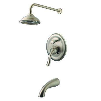 Single-Handle 2-Spray Tub and Shower Faucet in Brushed Nickel (Valve Included)
