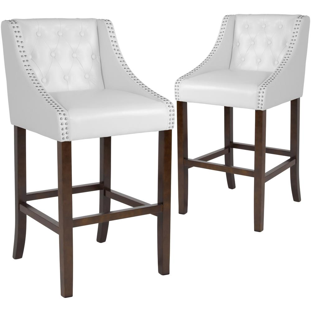 Groovy 30 In White Leather Bar Stool Set Of 2 Beatyapartments Chair Design Images Beatyapartmentscom