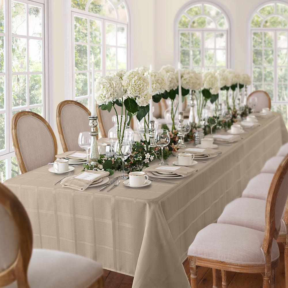 60 in. W x 84 in. L Oblong Beige Elrene Elegance Plaid Damask Fabric Tablecloth